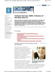 Industry Surveys 2005: A Review of the Best (Part I)