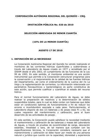 INVITACION PUBLICA No. 020 DE 2010 - ESPECIFICACIONES ...