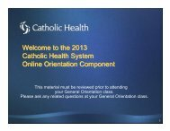 the 2013 Catholic Health System Online Orientation Component