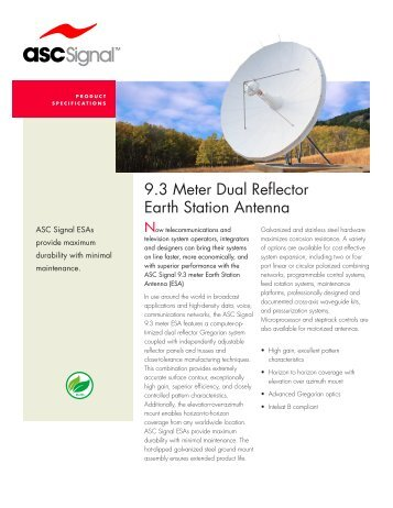 9.3 Meter Dual Reflector Earth Station Antenna - Vincor