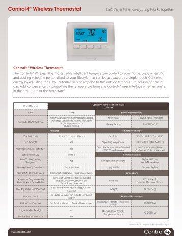 Data sheet - Control4® Wireless Thermostat