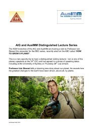 AIG and AusIMM Distinguished Lecture Series