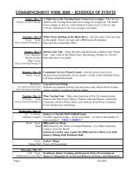 Commencement Week 2010 - SCHEDULE OF EVENTS