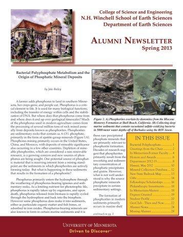 ALUMNI NEWSLETTER - Earth Sciences - University of Minnesota