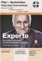 Pfarrnachrichten-15-2010 für die Zeit vom 29. Sept. - 10. Okt. 2010