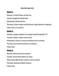 Weekly Specials Week 1 Week 2 Week 3