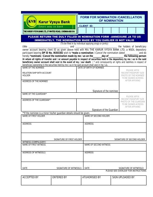 nomination registration form axis bank