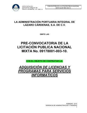 PRE-CONVOCATORIA DE LA LICITACIÓN PUBLICA NACIONAL ...