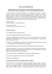 Pályázati Felhívás - Vidékfejlesztési Minisztérium