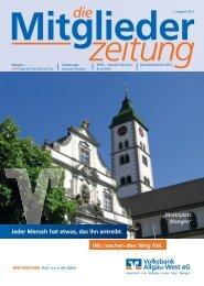 Ausgabe 2013 I (PDF - 3,5 MB) - Volksbank Allgäu-West eG
