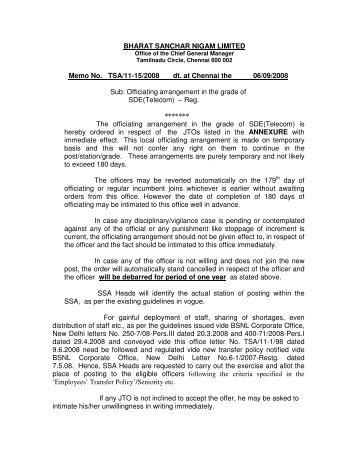 BHARAT SANCHAR NIGAM LIMITED Memo No. TSA/11-15/2008 dt ...