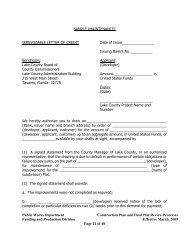 Sample (Maintenance) Irrevocable Letter of Credit - Lake County
