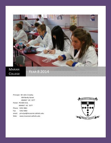 Year 8 2014 Hand book - Marian College