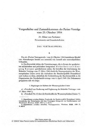 Vorgeschichte und Zustandekommen der Pariser Verträge
