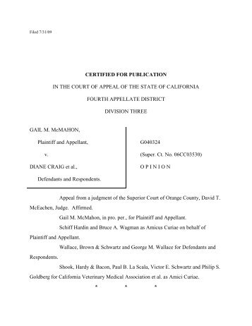CERTIFIED FOR PUBLICATION IN THE COURT OF ... - FindLaw