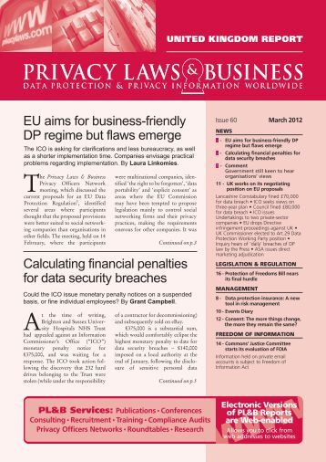 Privacy Laws and Business UK Report Issue 60