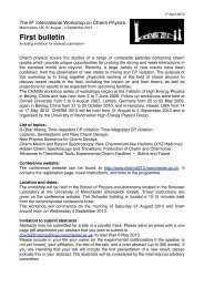 First bulletin - Charm 2013 - The University of Manchester