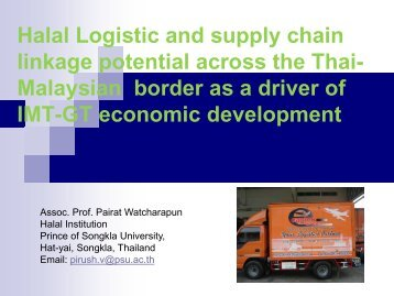 Halal Logistic and supply chain linkage potential across the Thai - hdc
