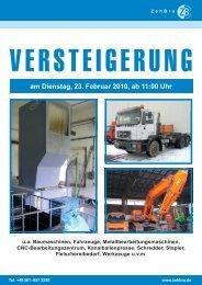 am Dienstag, 23. Februar 2010, ab 11:00 Uhr - ZehBra GmbH