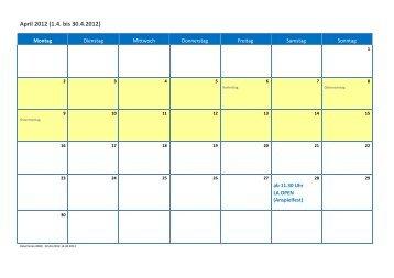 April 2012 (1.4. bis 30.4.2012)