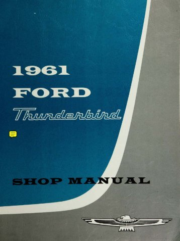 DEMO - 1961 Ford Thunderbird Shop Manual - ForelPublishing.com