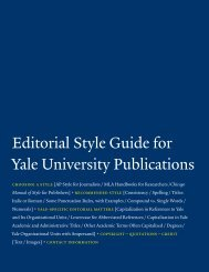 Editorial Style Guide for Yale University Publications