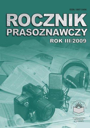 Rocznik prasoznawczy 3/2009 - Wyższa Szkoła Humanitas