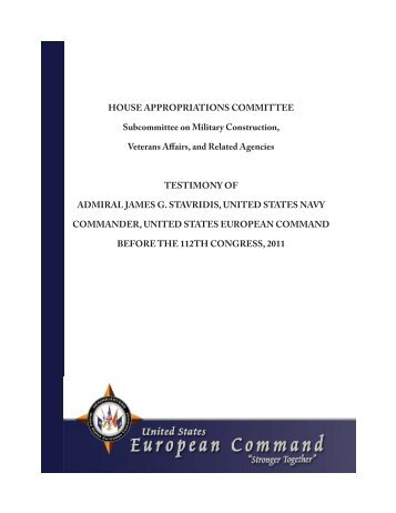EUCOM Posture Statement 2011 (HAC-M) - The U.S. House of ...