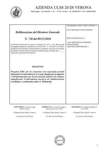Deliberazione del Direttore Generale N. 738 del ... - ULSS 20 Verona