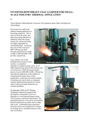 inverted-downdraft coal gasifier for small- scale industry thermal ...