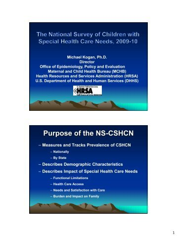 The National Survey Of Children with Special Health Care Needs ...