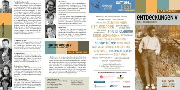 Flyer Entdeckungen V - Kurt-Weill- Fest