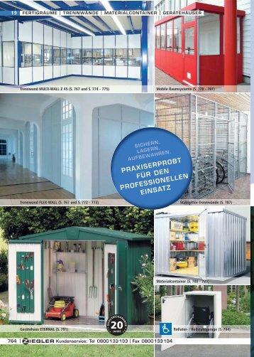 fertigräume | trennwände | materialcontainer | gerätehäuser - ZIEGLER