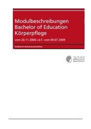 Modulbeschreibungen Bachelor of Education Körperpflege