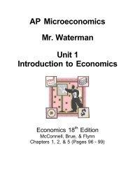 AP Microeconomics Mr. Waterman Unit 1 Introduction to Economics