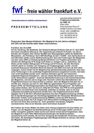 Pressemitteilung Flugrouten über Bergen-Enkheim - Freie Wähler ...