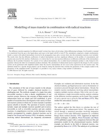 Modelling of mass transfer in combination with radical reactions - ITM