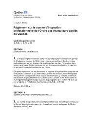 Règlement sur le comité d'inspection professionnelle de l'Ordre des ...