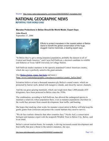 National Geographic News - Sirenian International
