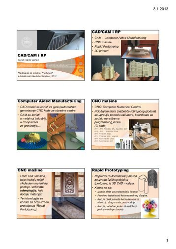 3.1.2013 1 CAD/CAM i RP CAD/CAM i RP Computer Aided ...