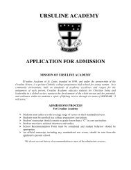 Application for Admission - Ursuline Academy