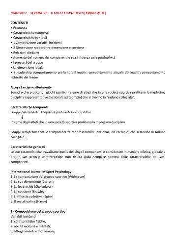 MODULO 2 – LEZIONE 18 – IL GRUPPO SPORTIVO - life and fitness