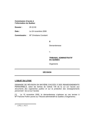 X c. Tribunal administratif du Québec - Commission d'accès à l ...