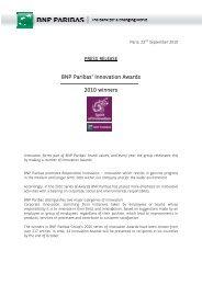 BNP Paribas' Innovation Awards 2010 winners