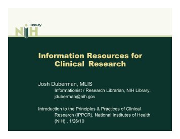 Information Resources for Clinical Research - IPPCR Video and ...