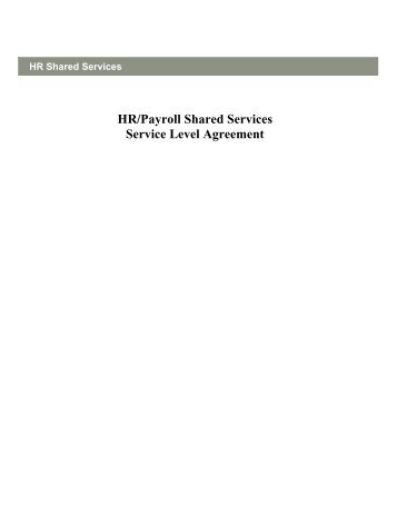 Develop An Hr Service Level Agreement - Flexible Learning Toolboxes