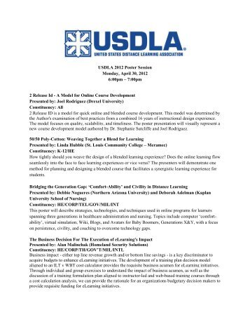 Poster Session - United States Distance Learning Association