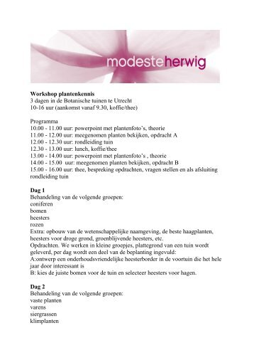 Workshop plantenkennis 3 dagen in de ... - Modeste Herwig