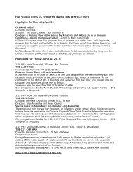 TJFF DAILY HIGHLIGHTS April 11 + 12 - Toronto Jewish Film Festival