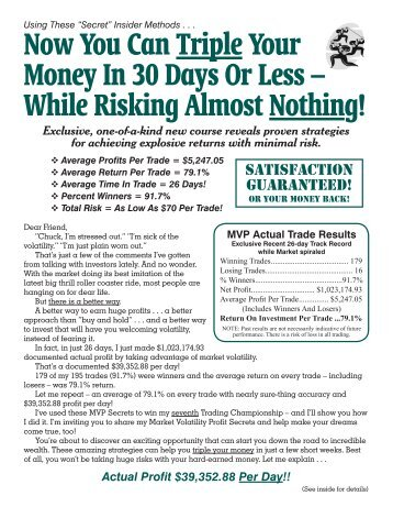 Now You Can Triple Your Money In 30 Days Or Less – While ...